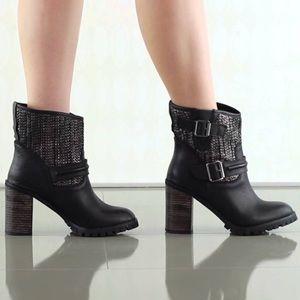 Lug Sole Chunky Heel Buckle Detail Engineer Boots